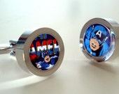 Cuff Links -- Captain America Marvel Comics Silver Cufflinks