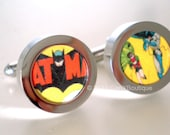 Cufflinks -- Batman and Robin DC Comics Silver Cufflinks