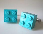 Cuff Links -- LEGO Cufflinks 2x2 Turquoise Brick Silver Cufflinks