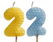 "Birthday Candles: Two Tall Beeswax Number Shaped Birthday Cake Candles - Any Colors, Any Numbers, on 9"" Stems"