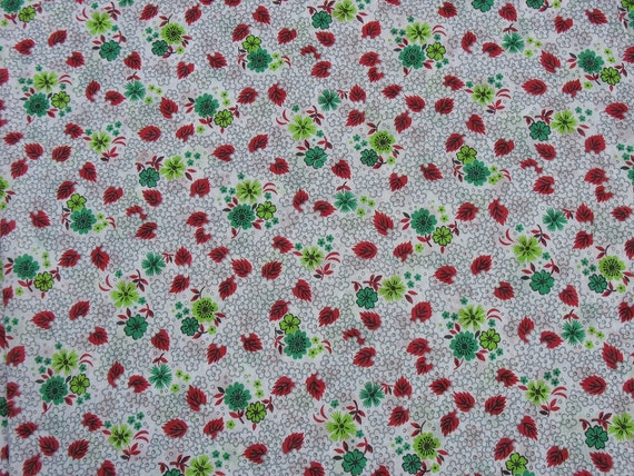 RESERVED for KATHRYN Vintage Cotton Fabric Sheer Fabric Red Green Chartreuse Floral Fabric Flowers Leaves - 1 7/8 Yard