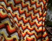 Vintage Crocheted Afghan Zig Zag Fall Colors