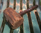 Primitive Rustic Distressed Large Wooden Mallet Shabby Farmhouse