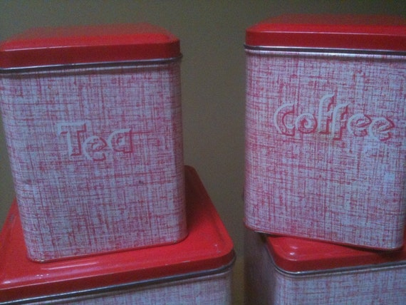 Vintage 1950s Metal Kitchen Canisters / Set of Four Nesting / Shabby Chic