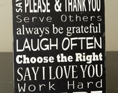 Family Rules Subway Art Sign-Solid Wood - Medium size