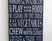 Table Manners / Dinner Rules - Typography Art Sign - Solid Wood Kitchen Sign