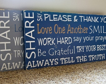 Family Rules Subway Art Sign - Horizontal (design 2)