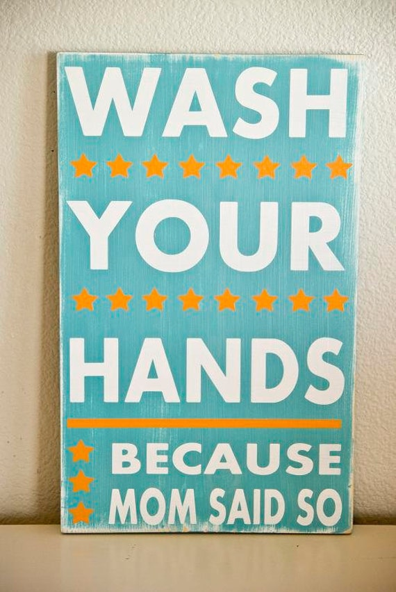 Wash Your Hands Typography Bathroom Sign