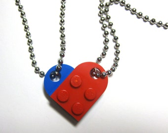 "BFF Heart Necklace Set - Made of LEGO® Bricks - 24"" Dog Tag Style Ball Chain Friendship Friends Set - 2 Necklaces Best Friend Gift"