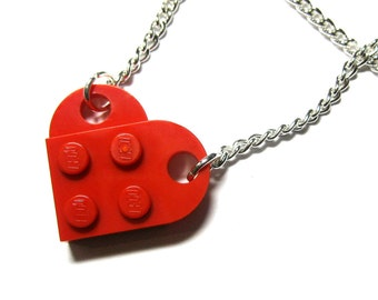 Original Single Chain Heart Necklace - Made With LEGO® Bricks - Perfect, Cute Gift