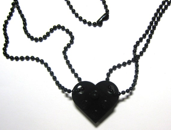 "BFF Heart Necklace Set - Made of LEGO® Bricks - 24"" Black Dog Tag Style Ball Chain Friendship Friends Set - 2 Necklaces Best Friend Gift"