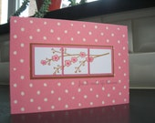 Friendship Card, Birthday Card, Cherry Blossom Card, Spring Card, Pink