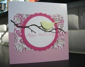 Mother's Day Card, Little Bird on a Branch, Pinks and Paisley