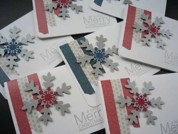 Handmade christmas cards set of 8 elegant silver snowflakes for Elegant homemade christmas cards