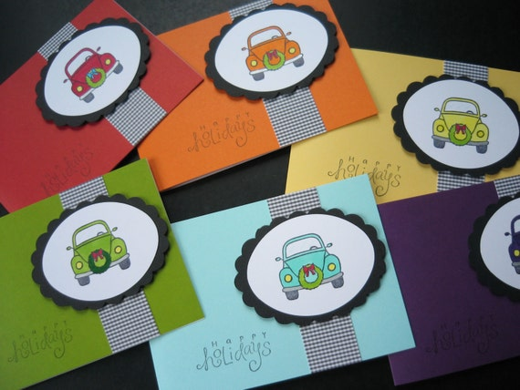 VW Beetle Christmas Cards, Holiday Cards Set of 6