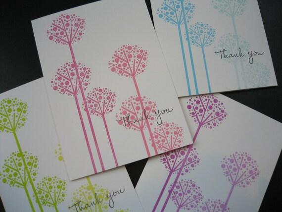 Thank You Cards Set, Set of 4, Handstamped Cards, Allium Flowers