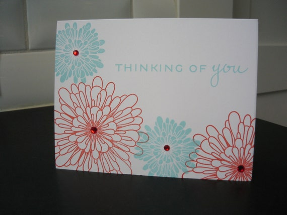Thinking of You Card, Red and Aqua Flowers