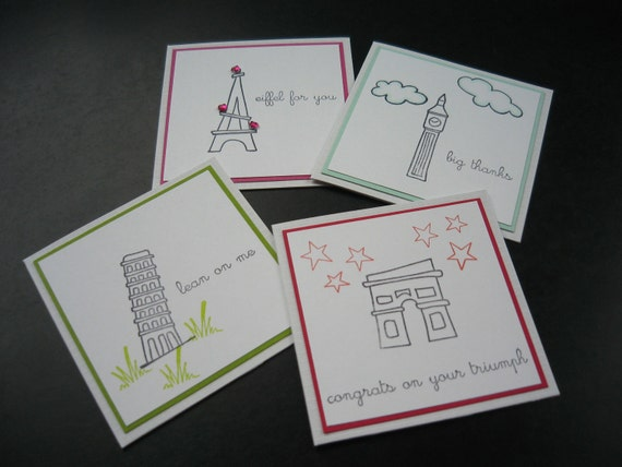 Mini Cards Lunch Box Notes Gift Enclosures World Traveler World Monuments Handmade