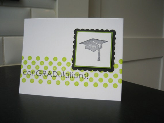 Graduation Card, Green Polka Dots