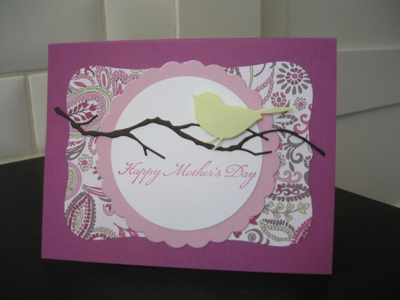 Mother's Day Card, Little Bird on a Branch, Purple and Paisley