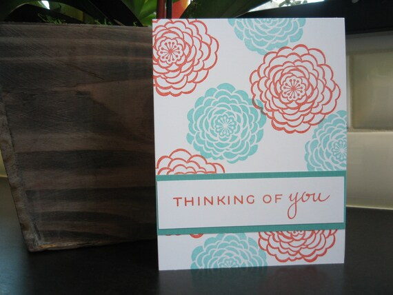 Thinking of You Card, Aqua and Red Camellias, Any Occasion Greeting Card