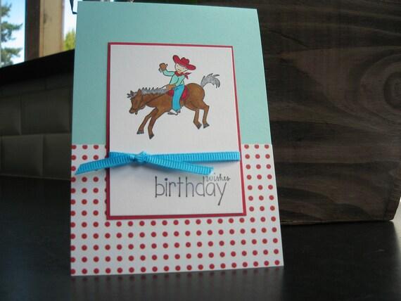 Birthday Card, Card for Little Boy, Handmade Birthday Card, Cowboy