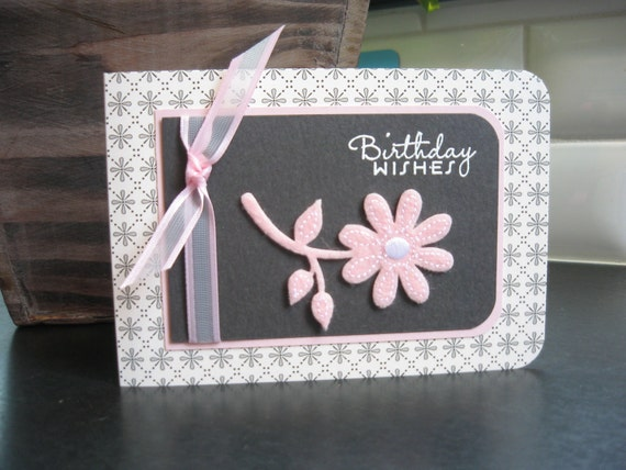 Birthday Card, Charcoal Gray and Pink Floral