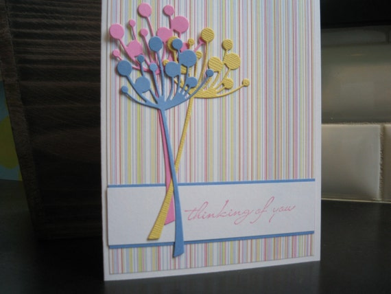 Thinking of You Card Wildflowers Handmade Stamped Floral Pastel