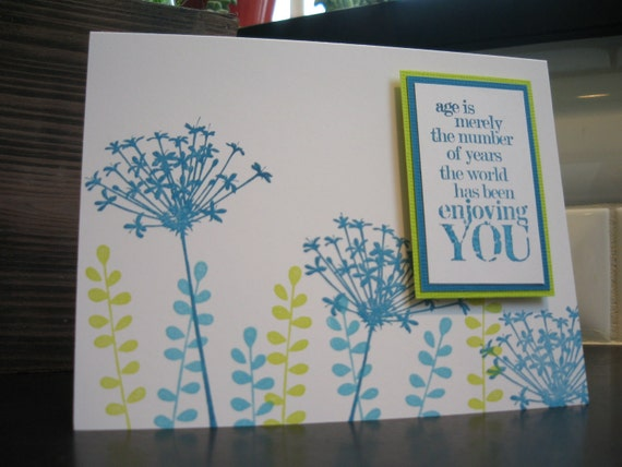 Floral Birthday Card, Blue and Green Wildflowers