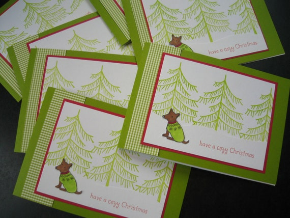 Christmas Cards Set of 7 Dog Forest Holiday Winter Cards