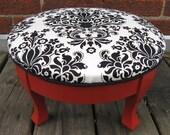 ruth damask tufted footstool. vintage. 4 legs.