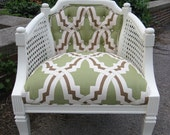 CUSTOM listing for JackieSly17 -  tufted back cane arm barrel chair. finial tops