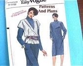 Vintage Vogue Pattern 8794 Very Easy, Long Sleeve, Straight, Loose Dress with Cowl Collar and Vest