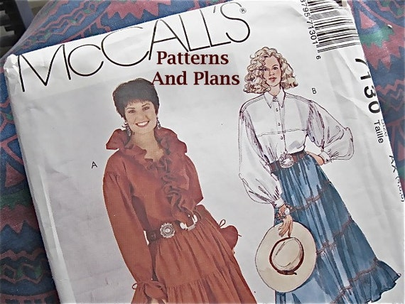 Vintage McCalls 7130 Tiered Skirt & Ruffled, Long Sleeved Blouse Western