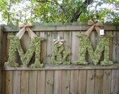 Set of two 24 inch moss covered wedding monogram letters and 12 inch ampersand
