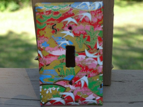 Red Cranes and Fans Washi Paper Light Switch cover