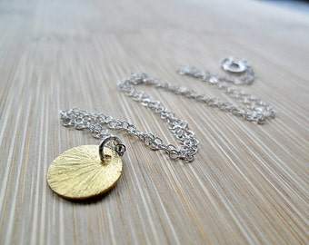 Gold Coin Necklace, Brushed 24k Vermeil Gold Coin on Sterling Silver Bridal Bridesmaids Wedding Bridesmaids Gifts Everyday