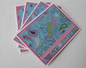 Pretty N Paisley Handmade Set of 4 Note Cards, Birthday Gift, Stationery, Christmas Gift