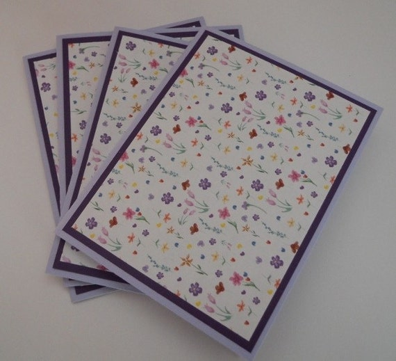 Lavender And Floral Handmade Set of 4 Note Cards, Mothers Day Gift, Birthday Gift, Stationery