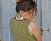 Green Bustier Knit Vest with Butterfly and Organza Trim