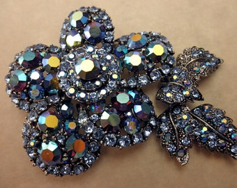 vintage elegant pin and pendant with blue aurora borealis rhinestones-large