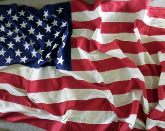 extra large 5' x 9' cotton bunting, 50 star, American flag-Fourth of July, Memorial Day, Valley Forge, appliquéd stars