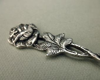sale----vintage 800 silver knife - rose, ornate