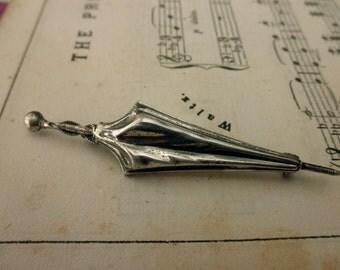 vintage sterling silver pin - umbrella, brooch
