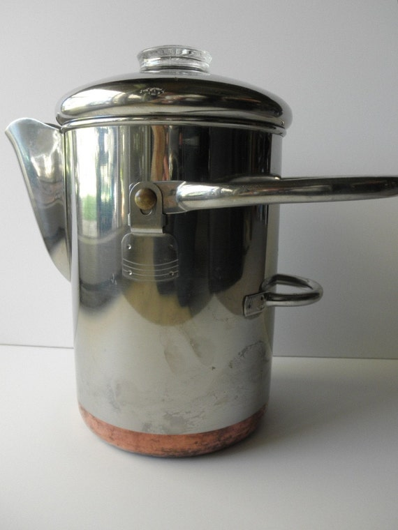 Vintage Revere Ware Copper Clad Coffee Pot 14 Cup 1950s Retro