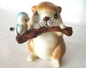 Vintage Adorable Napco Beaver and his Bluebird Friend