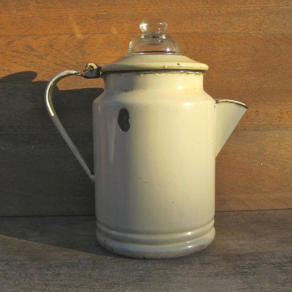 Vintage Enamelware Coffee Pot Percolator
