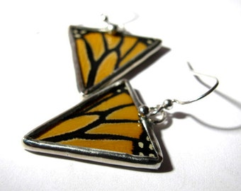 Geometric Monarch Butterfly Triangle Wing Earrings