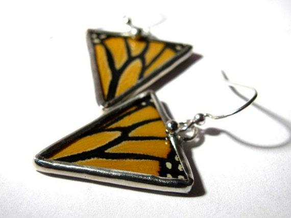 Geometric Monarch Butterfly Triangle Wing Earrings