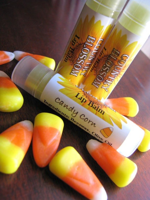 Candy Corn Flavored Natural Beeswax Lip Balm - Made with Olive Oil, Coconut Oil and Vitamin E Oil